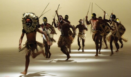 Masked men with spears